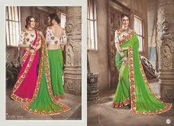Parrot Green Chiffon Dyed Saree