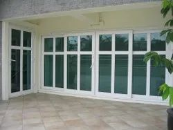 Toughened Glass L Handle White UPVC Hinged Door, For Home, 5-22 Mm