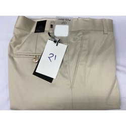 Party Skins Formal Wear Mens Khaki Color Cotton Slub Lycra Trousers, Size: 30-36 inch