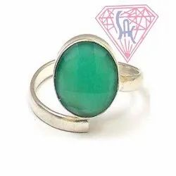 Green Onyx Gemstone Silver Ring with Silver Plated