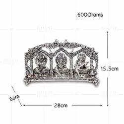 Silver Plated Laxmi Ganesh Saraswati Peacock Frame