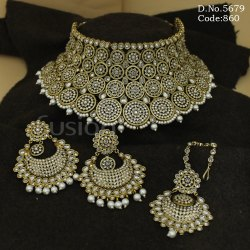 Traditional Polki Wedding Choker Necklace Set
