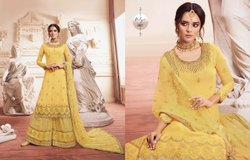 Georgette Party Wear Lt Fabrics Nitya Designer Gharara Style Latest Suits, Size: semi, Wash Care: Dry clean