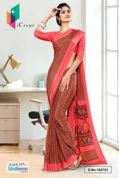 Carrot Pink Small Print Premium Italian Silk Crepe Saree For Empoyees Uniform Sarees 1027