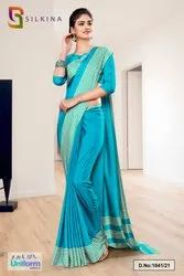 Peacock Blue Plain Border Premium Polycotton Raw Silk Saree For Front Office Uniform Sarees