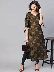 La Firangi Women Brown & Green Printed Straight Kurta