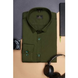 Boros Cotton Olive Green Casual Shirt