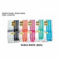 Durga White Striped Cotton Towel, 140 GSM, Size: 35x70 Inches