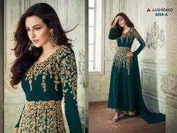 Aashirvad 8204 Anarkali Faux Georgette Embroidered Salwar Kameez, Dry clean