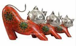 Nirmala Handicrafts Wooden & Aluminium Craft Cat Set Of 3 Decorative Showpiece Home & Table Decor