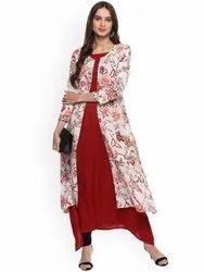 La Firangi Women Red & Off-White Floral Print Layered A-Line Kurta