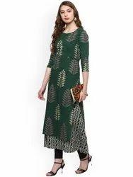 La Firangi Women Green Printed A-line Kurta