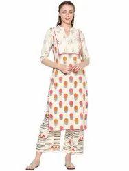 Cotton Knee Long Ladies Printed Kurta, Size: Small To Plus Sizes