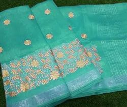 Halim Wedding Wear Silk Linen Saree, 6.3 M (with Blouse Piece)