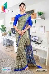 Beige Blue Small Print Premium Italian Silk Crepe Uniform Sarees For Showroom Staff