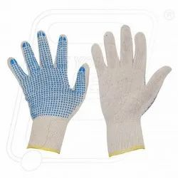 SINGLE DOTTED HAND GLOVES BLUE DOT ON WHITE