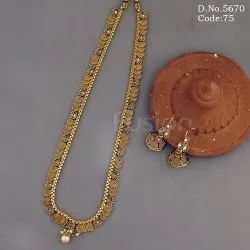 Traditional Plain Gold Long Necklace Set