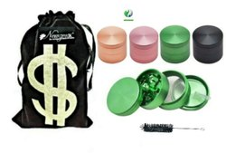 CNC Diamond Teeth Herb Smoking Grinder (Crusher) 50mm/4 Part Colored Incl. Velvet Pouch & Cleaner