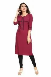 Women Plain crepe straight Kurta(Wine)