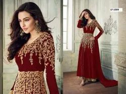 Heavy Georgette With Embroidery Work Gown