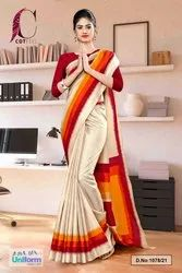Beige Maroon Gala Border Premium Polycotton CotFeel Saree For Employee Uniform Sarees