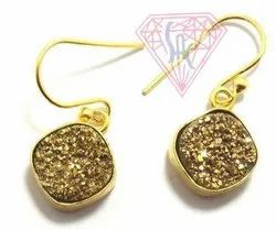 Golden Druzy Earring
