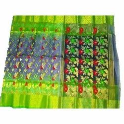 Party Wear Embroidered Ladies Designer Jamdani Silk Saree, 5.5 m