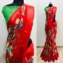 Cotton Satin Patta Indian Wear Saree