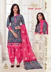 Embroidered Blue and Pink Cotton Unstitched Suits, For Clothing