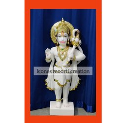 Standing Pure White Marble Hanuman Statue