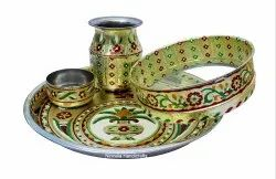 Nirmala Handicrafts Meenakari Karwa Chauth Handmade Thali With Chhalni Lota And Bowl Set Gift Set