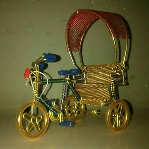 Golden,Brown Decoration Brass Rickshaw