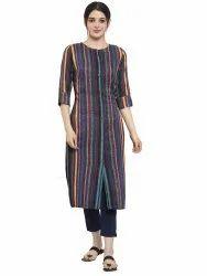 Women Striped Rayon Straight Kurta's(Blue)