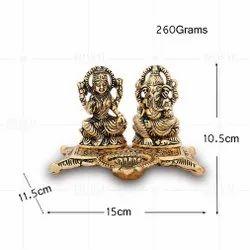 Gold Plated Laxmi Ganesh Deepak Hollow
