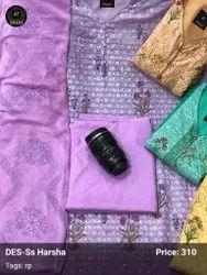 Pakistani Unstitched Chikan Salwar Suits Material, Handwash