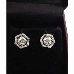 Real Diamonds Daily Wear Solitare Diamond Earrings, 4 Gm, 14 Kt