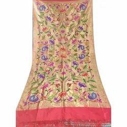 Ovi Paithani Embroidered Festive Wear Banarasi Silk Saree, 6.3 m (with blouse piece)