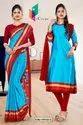 Sky Blue Red Premium Italian Silk Crepe Uniform Sarees For Hospital Staff