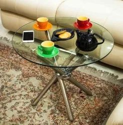 swadesh Mirror Finish Round Steel Table, For multipurpose, Size: 18x24 Inches