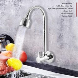 Silver Brass Movable kitchen sink faucet