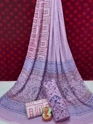 Exclusive Natural Hand Block Printed Cotton Dress Material With Chiffon Dupatta.