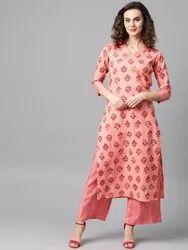 La Firangi Women Peach- Coloured & Pink Printed Kurta With Palazzos