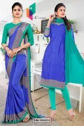 Blue Green Premium Italian Silk Crepe Uniform Sarees for Office Staff 1052