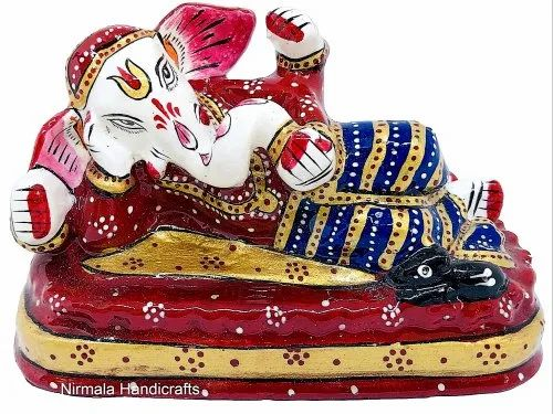 Metal Meenakari Sleeping Ganesha Statue Enamel Work Indian God Idol Sculpture
