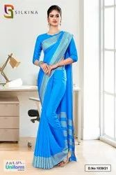Sky Blue Plain Border Premium Polycotton Raw Silk Saree For Hotel Uniform Sarees