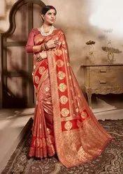 Arohi Designer Party Wear Stylish Art Silk Jacquard Saree, With Blouse Piece, 6.2 Meter