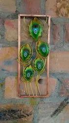 Craftkriti Metal Peacock leaf wall decor, Size: 16