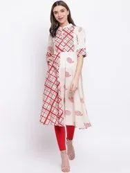 La Firangi Women White & Red Printed A-Line Kurta
