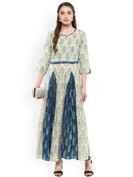 La Firangi Women Off-White & Blue Printed Anarkali Kurta
