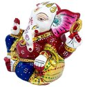 Metal Gaddi Ganesha Statue Enamel Work Decorative Ganesh Idol